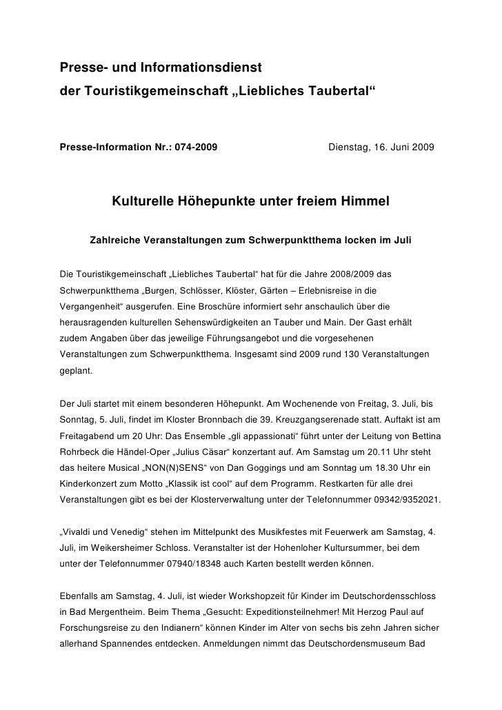 """Presse- und Informationsdienstder Touristikgemeinschaft """"Liebliches Taubertal""""Presse-Information Nr.: 074-2009            ..."""