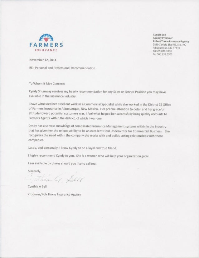 Letter of Recommendation for Cynthia Shumway from Cyndie Bell - Agent ...