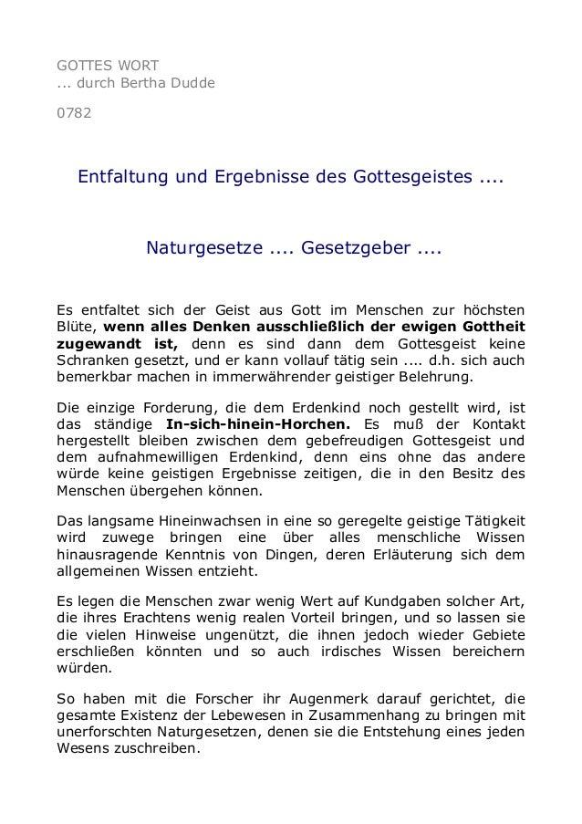 GOTTES WORT ... durch Bertha Dudde 0782 Entfaltung und Ergebnisse des Gottesgeistes .... Naturgesetze .... Gesetzgeber ......