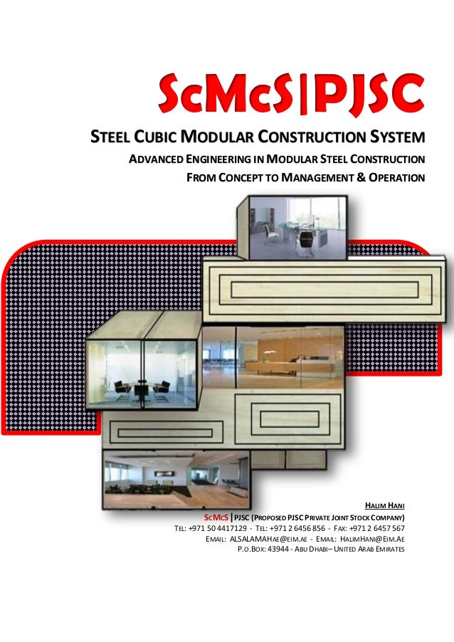 SCMCS|PJSC STEEL CUBIC MODULAR CONSTRUCTION SYSTEM Advanced Engineering in Modular Steel Construction Form Concept to Mana...