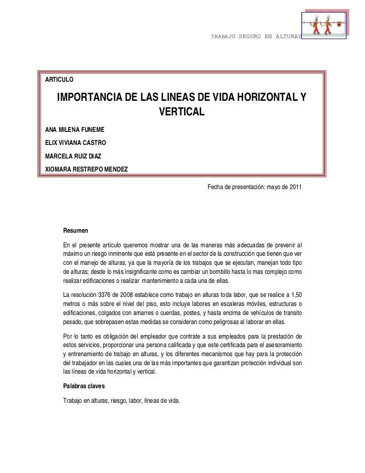 TRABAJO SEGURO EN ALTURAS               ARTICULO        IMPORTANCIA DE LAS LINEAS DE VIDA HORIZONTAL Y              ...