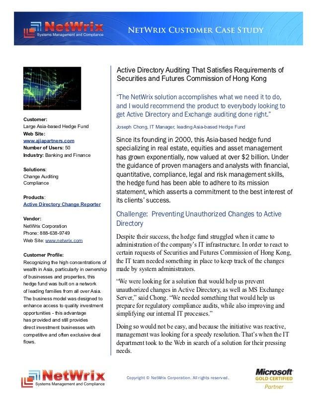 NetWrix Customer Case Study                                            Active Directory Auditing That Satisfies Requiremen...