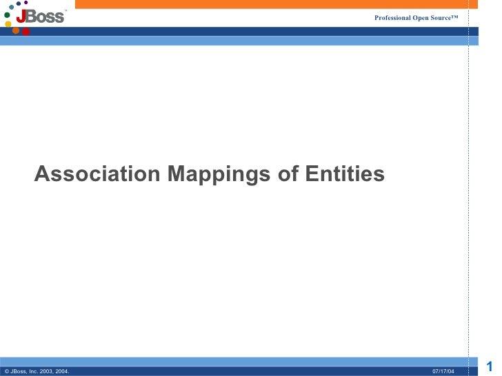 Professional Open Source™           Association Mappings of Entities© JBoss, Inc. 2003, 2004.                             ...
