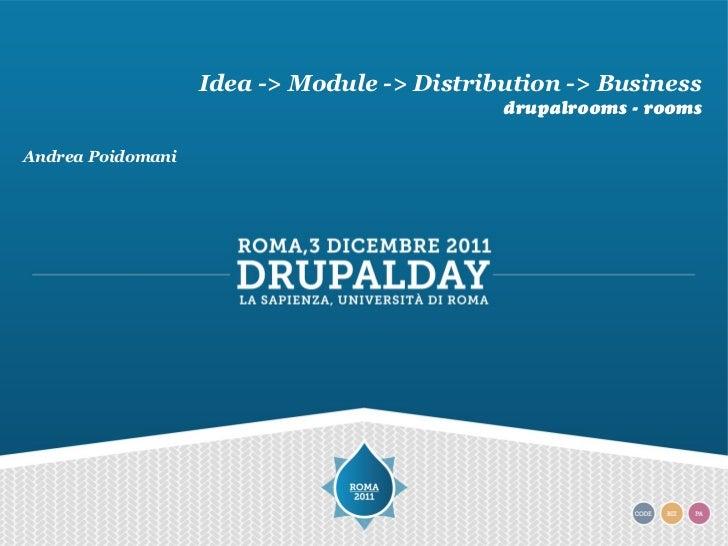 Idea -> Module -> Distribution -> Business                                            drupalrooms - roomsAndrea Poidomani