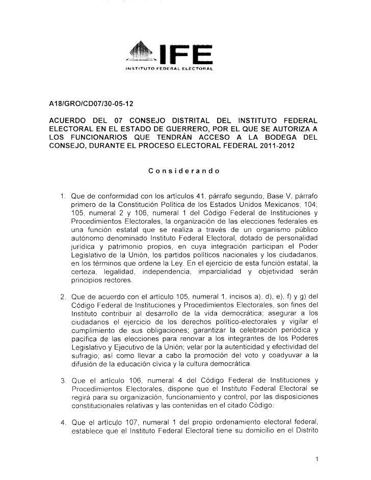 IWSTITUTO fEOERAl. ELECTORALA18/GRO/CD07/30-05-12ACUERDO DEL 07 CONSEJO DISTRITAL DEL INSTITUTO FEDERALELECTORAL EN EL EST...