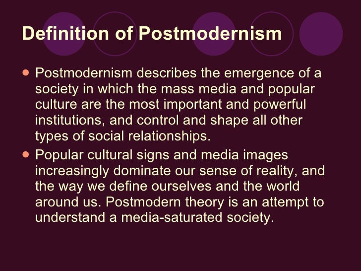 postmodernism marketing Postmodernism as an ideology encompasses democratic ideals and stresses the importance of subjectivity postmodernism & social media.