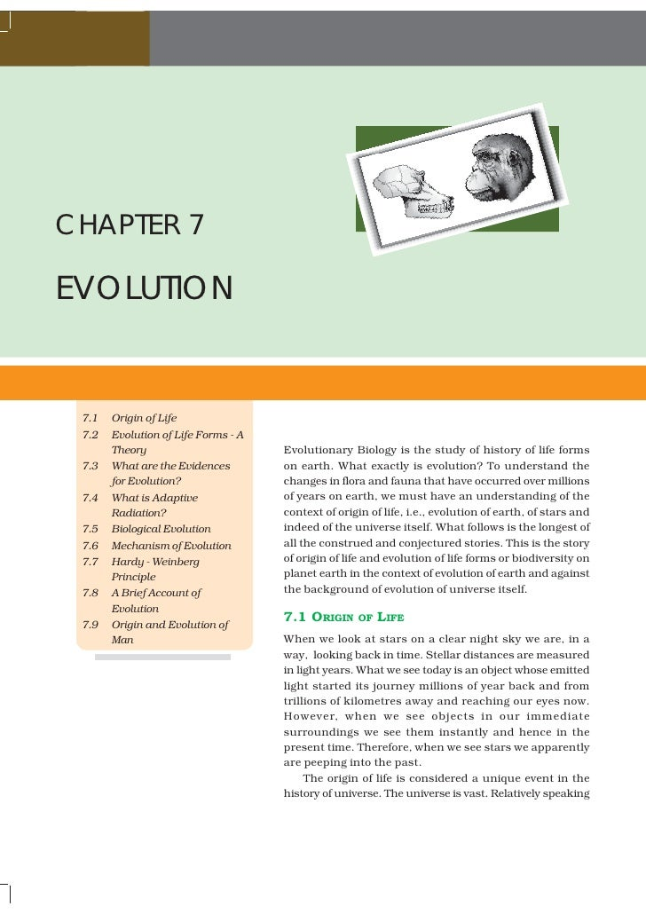 BIOLOGYCHAPTER 7EVOLUTION  7.1   Origin of Life  7.2   Evolution of Life Forms - A        Theory                        Ev...