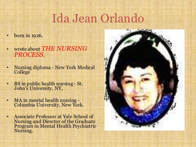 ida jean orlando pelletiers nursing theory Ida jean orlando's deliberative nursing process is a nursing theory that allows nurses to create an effective nursing care plan that can also be easily adapted when and if any complications arise with the patient.
