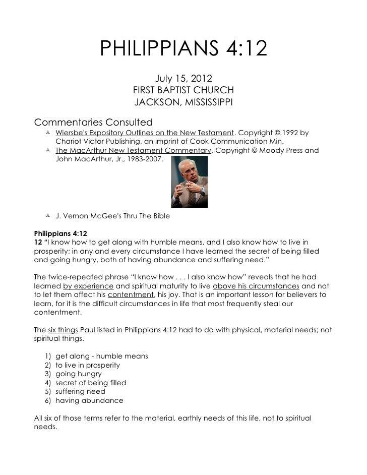 PHILIPPIANS 4:12                                     July 15, 2012                                FIRST BAPTIST CHURCH    ...