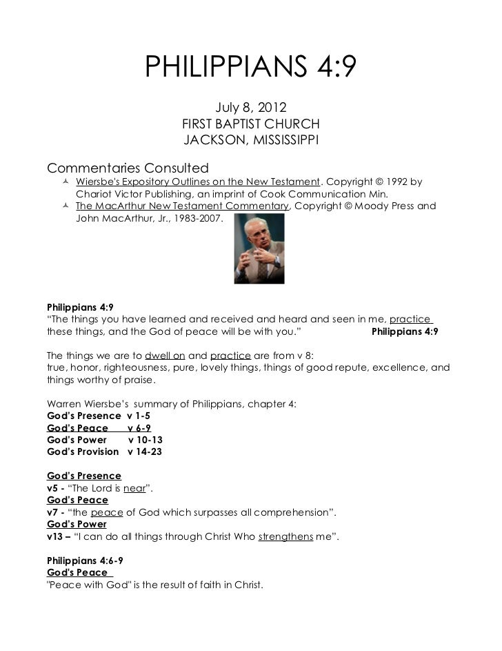 PHILIPPIANS 4:9                                     July 8, 2012                               FIRST BAPTIST CHURCH       ...