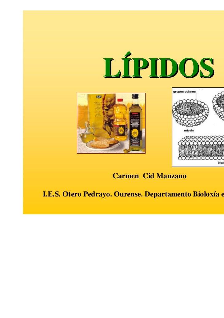 LÍPIDOS                    Carmen Cid ManzanoI.E.S. Otero Pedrayo. Ourense. Departamento Bioloxía e Xeoloxía.