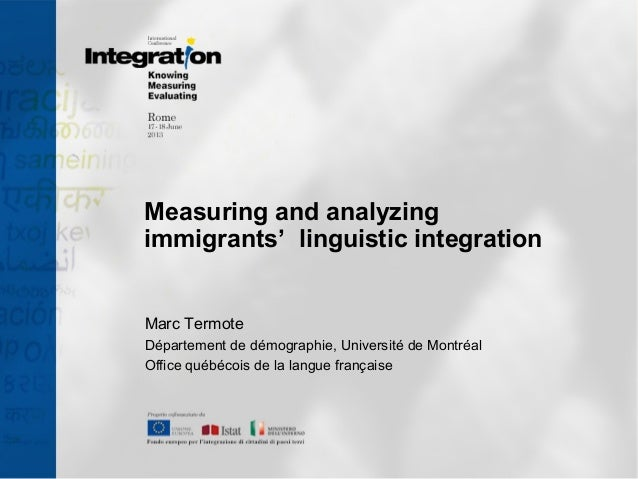 M. Termote - Measuring and analyzingimmigrants'  linguistic integration