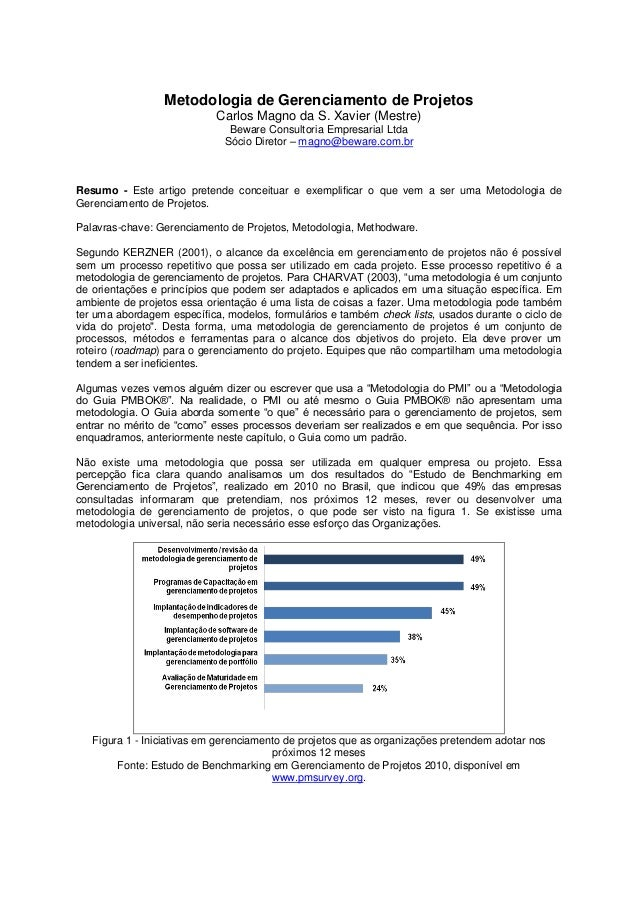 Metodologia de Gerenciamento de Projetos Carlos Magno da S. Xavier (Mestre) Beware Consultoria Empresarial Ltda Sócio Dire...