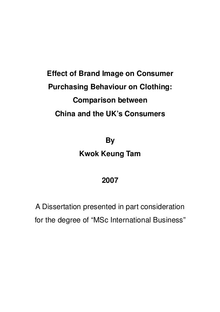 Effect of Brand Image on Consumer    Purchasing Behaviour on Clothing:           Comparison between      China and the UK'...