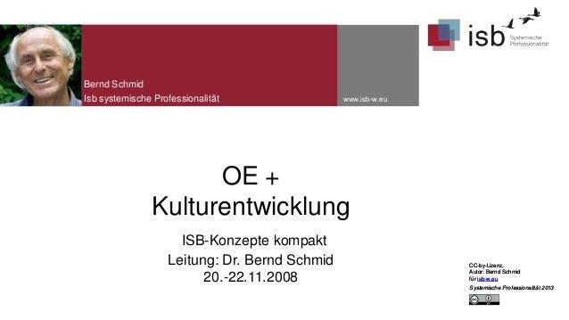 Bernd Schmid Isb systemische Professionalität  www.isb-w.eu  OE + Kulturentwicklung ISB-Konzepte kompakt Leitung: Dr. Bern...