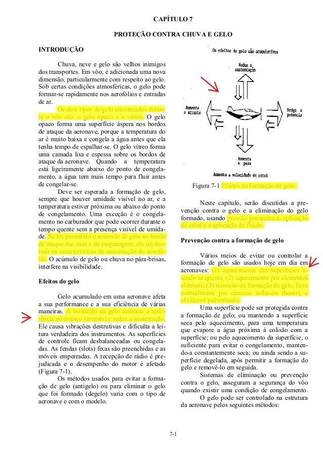 7-1 CAPÍTULO 7 PROTEÇÃO CONTRA CHUVA E GELO INTRODUÇÃO Chuva, neve e gelo são velhos inimigos dos transportes. Em vôo, é a...