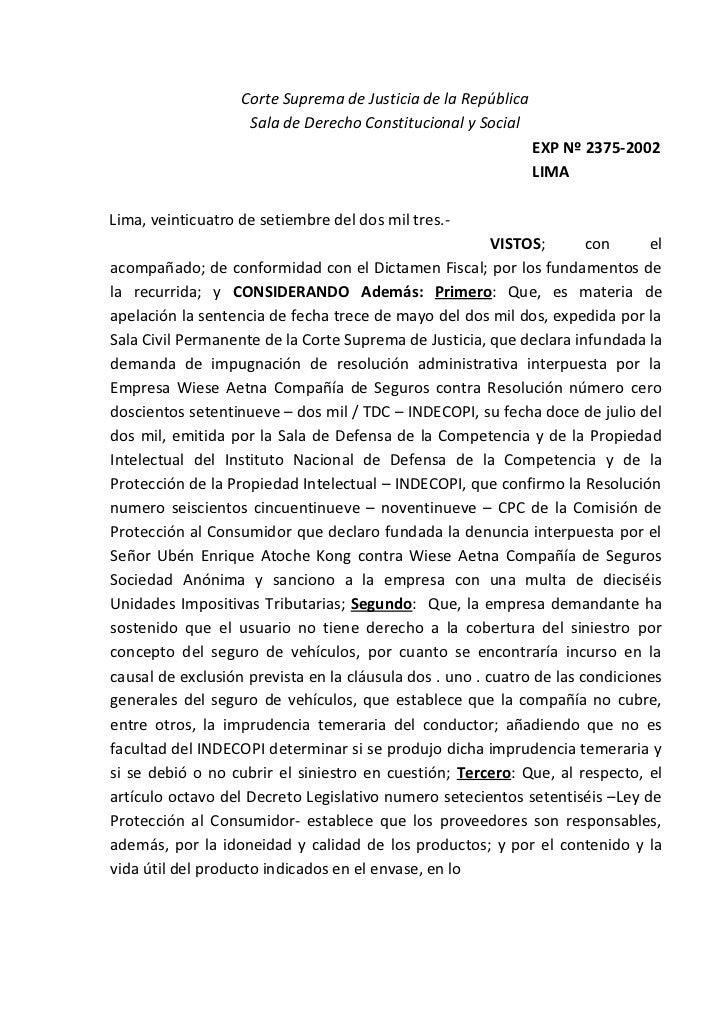 Corte Suprema de Justicia de la República                    Sala de Derecho Constitucional y Social                      ...