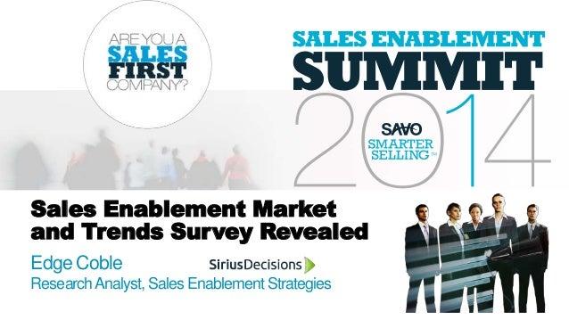 Sales Enablement Market and Trends Survey Revealed Edge Coble ResearchAnalyst, Sales EnablementStrategies