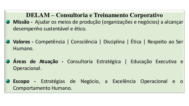 DELAM – Consultoria e Treinamento Corporativo Missão - Ajudar os meios de produção (organizações e negócios) a alcançar de...