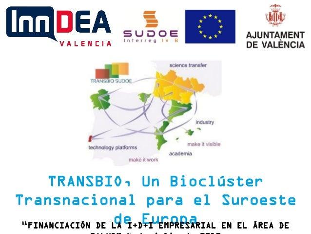 """TRANSBIO, Un Bioclúster Transnacional para el Suroeste de Europa""""FINANCIACIÓN DE LA I+D+I EMPRESARIAL EN EL ÁREA DE"""