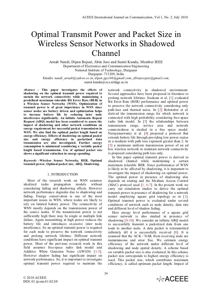 ACEEE International Journal on Communication, Vol 1, No. 2, July 2010     Optimal Transmit Power and Packet Size in      W...