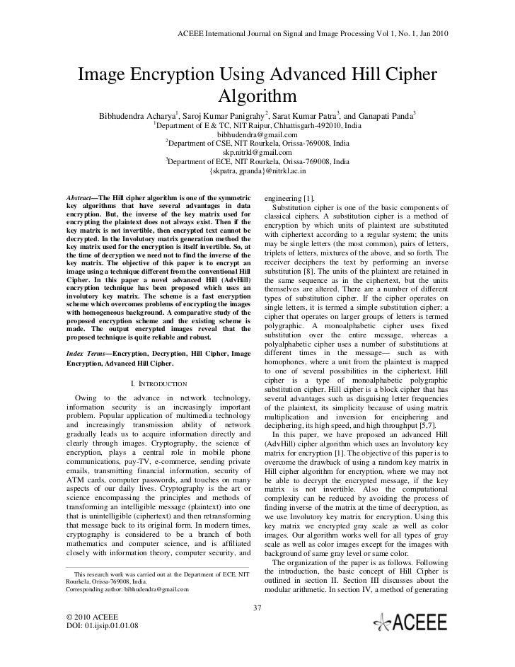 Image Encryption Using Advanced Hill Cipher Algorithm