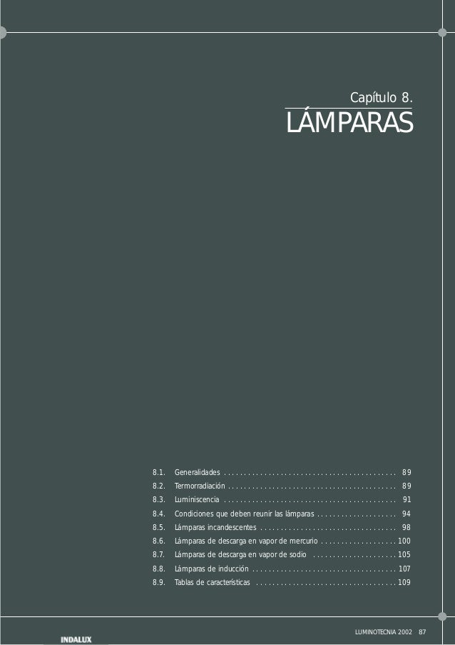 87LUMINOTECNIA 2002 Capítulo 8. LÁMPARAS 8.1. Generalidades . . . . . . . . . . . . . . . . . . . . . . . . . . . . . . . ...