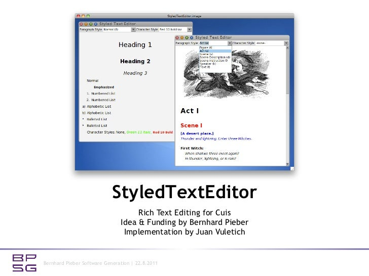 StyledTextEditor                                    Rich Text Editing for Cuis                               Idea & Fundin...