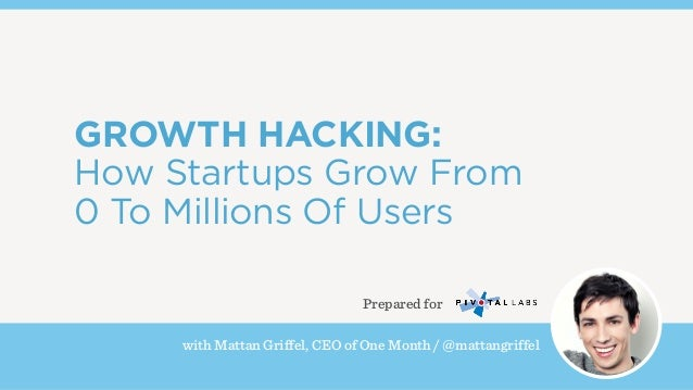 with Mattan Griffel, CEO of One Month / @mattangriffel GROWTH HACKING: How Startups Grow From 0 To Millions Of Users Prepa...