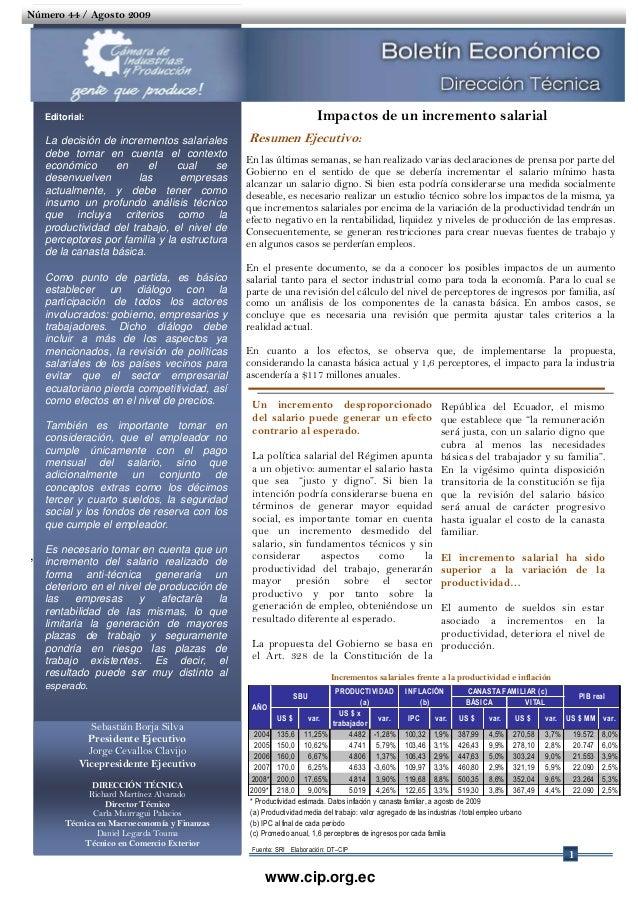Impactos de un Incremento Salarial - Boletín Económico Agosto 2009