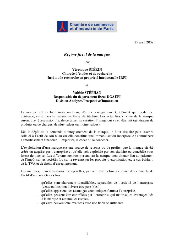 29 avril 2008                                Régime fiscal de la marque                                              Par  ...