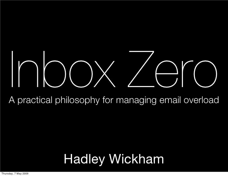 Inbox Zero      A practical philosophy for managing email overload                            Hadley Wickham Thursday, 7 M...
