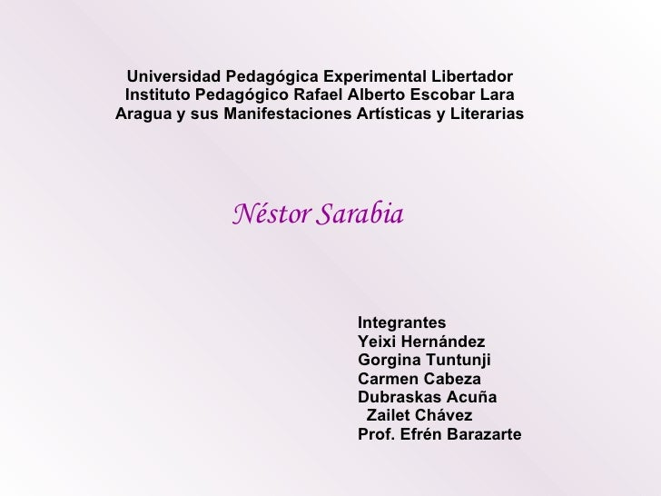 Universidad Pedagógica Experimental Libertador Instituto Pedagógico Rafael Alberto Escobar Lara Aragua y sus Manifestacion...