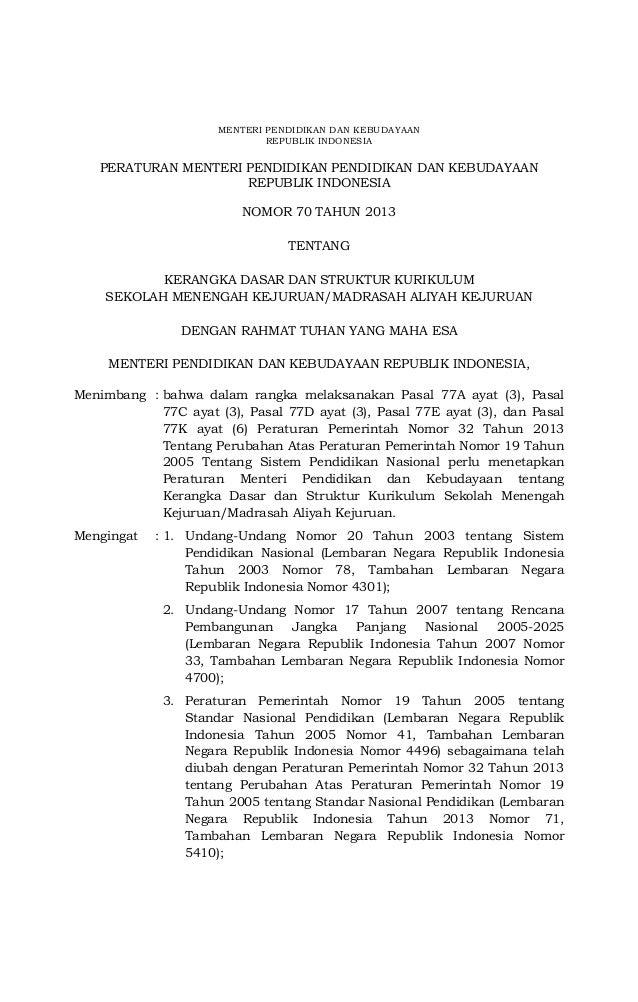 Permendikbud Nomor 70 tentang Kerangka Dasar dan Struktur Kurikulum SMK-MAK