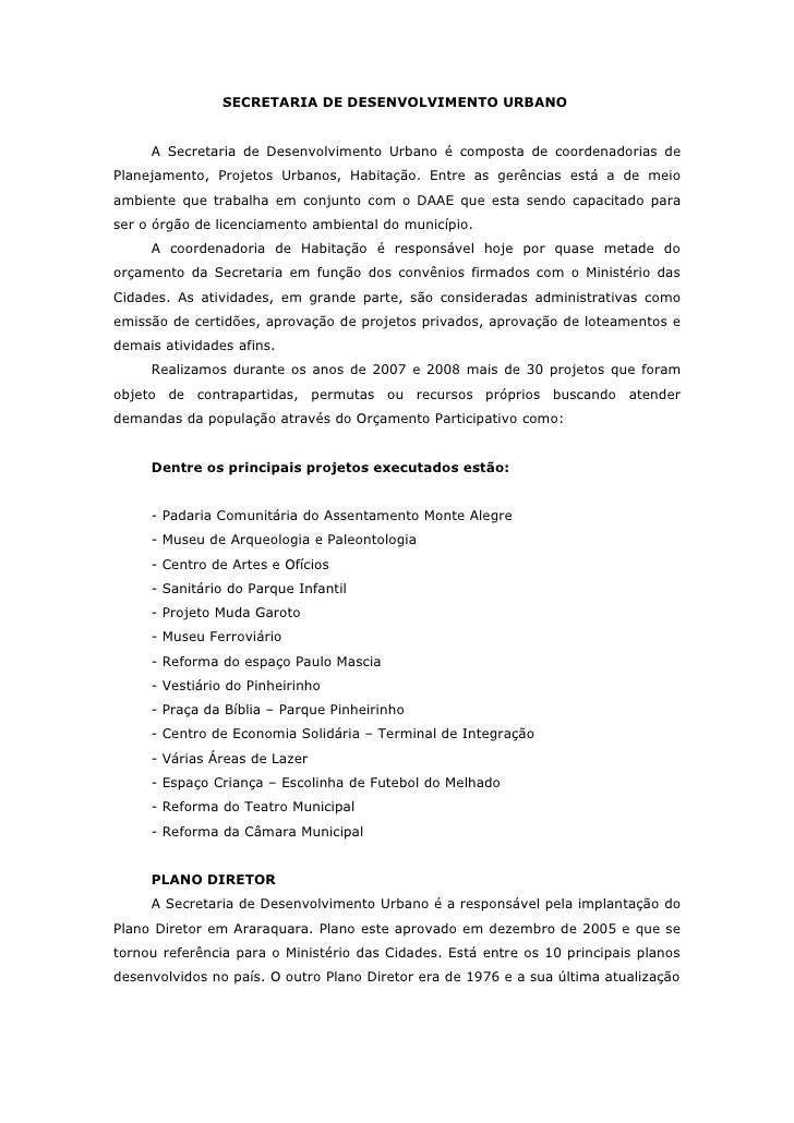 SECRETARIA DE DESENVOLVIMENTO URBANO     A Secretaria de Desenvolvimento Urbano é composta de coordenadorias dePlanejament...
