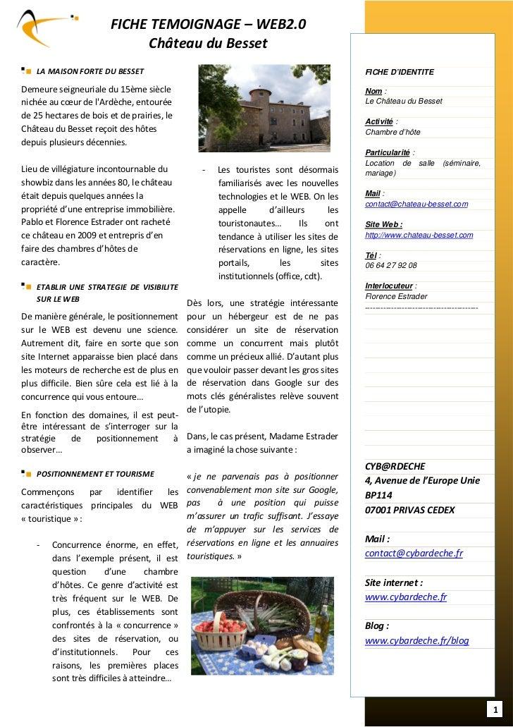 FICHE TEMOIGNAGE – WEB2.0                             Château du Besset    LA MAISON FORTE DU BESSET                      ...