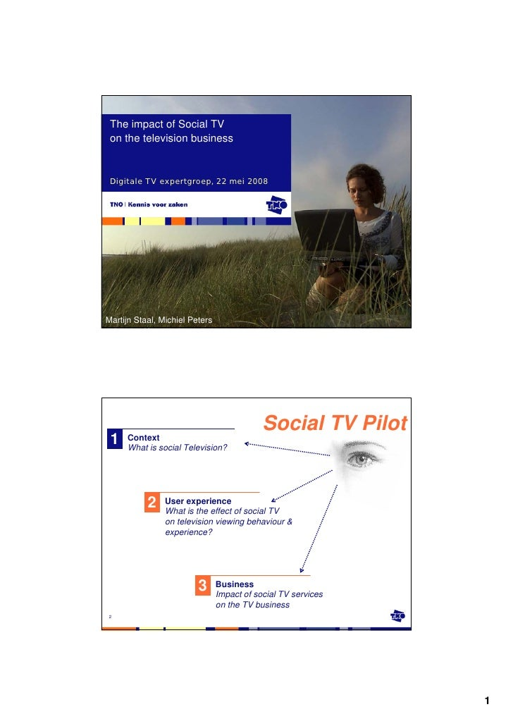 The impact of Social TV  on the television business    Digitale TV expertgroep, 22 mei 2008     Martijn Staal, Michiel Pet...