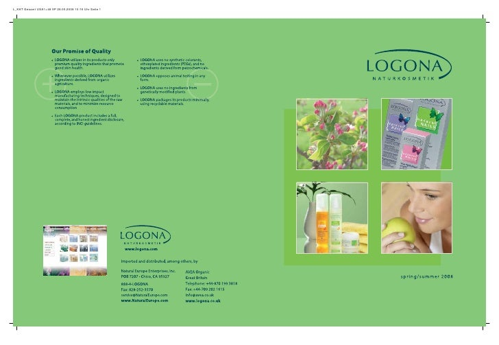 Logona Organic cosmetics and Skin care Catalogue