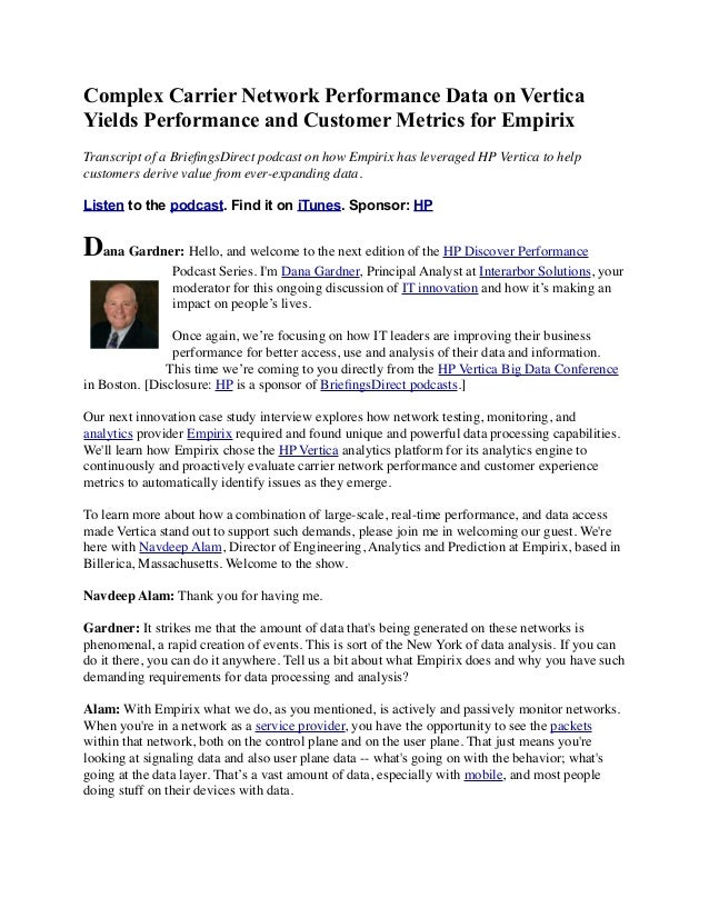 Complex Carrier Network Performance Data on Vertica Yields Performance and Customer Metrics for Empirix Transcript of a Br...