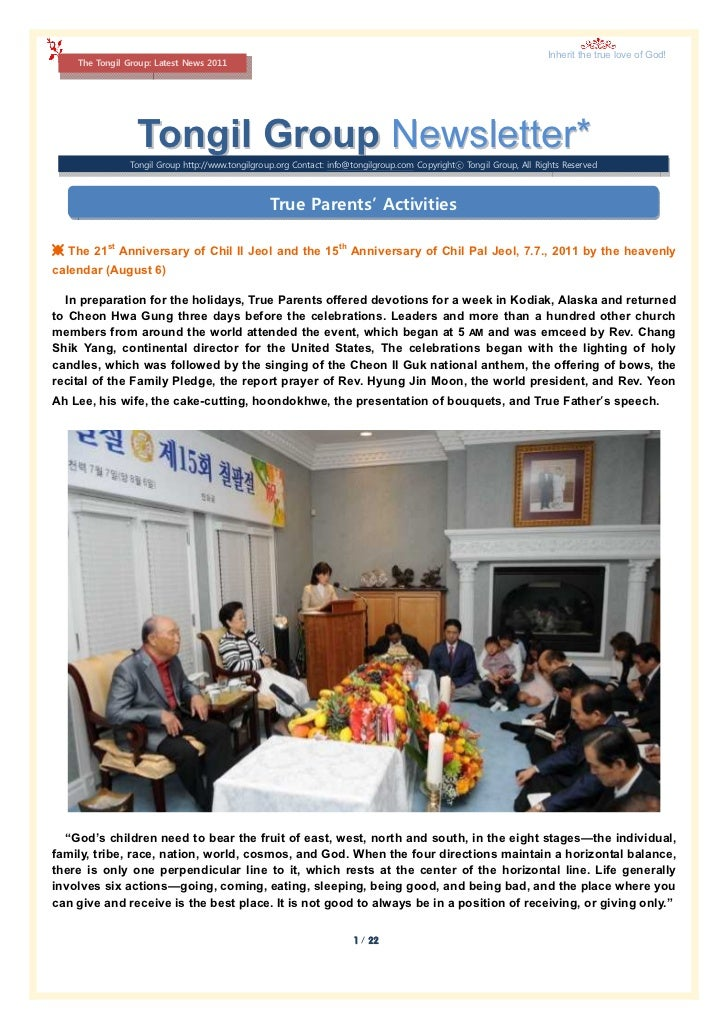 Inherit the true love of God!    The Tongil Group: Latest News 2011                 Tongil Group Newsletter*              ...