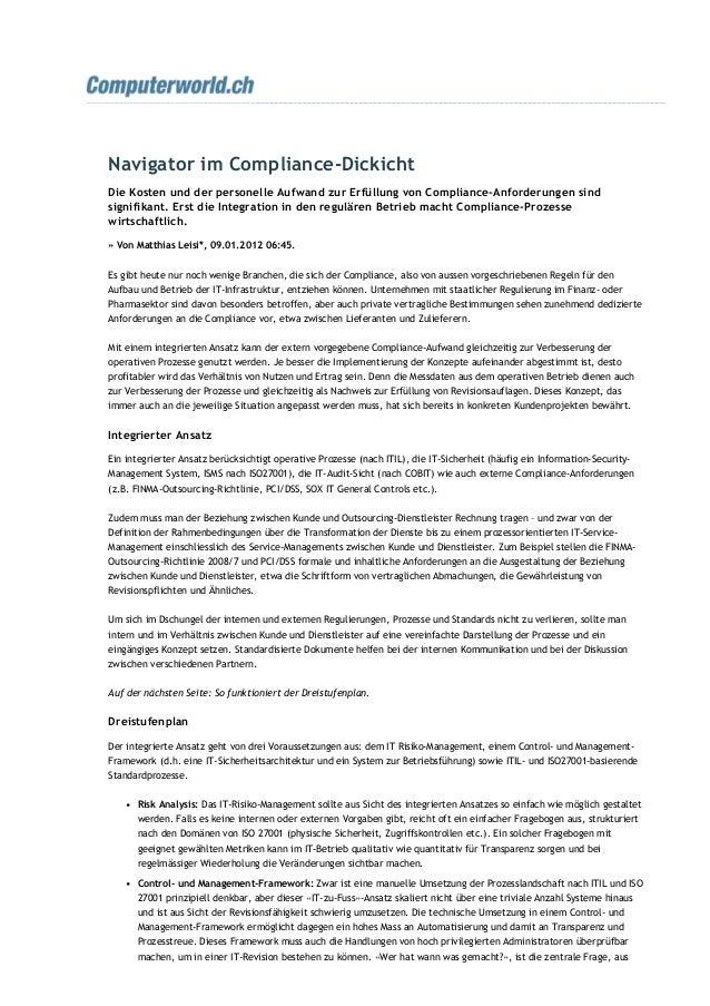 Navigator im Compliance‐Dickicht Die Kosten und der personelle Aufwand zur Erfüllung von Compliance‐Anforderungen sind sig...