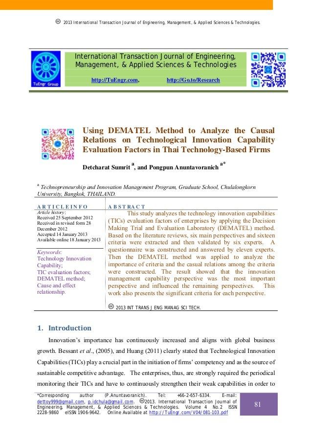 Using DEMATEL Method to Analyze the Causal Relations on Technological Innovation Capability Evaluation Factors in Thai Technology-Based Firms