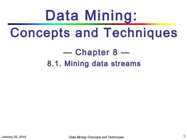 Data Mining:  Concepts and Techniques — Chapter 8 — 8.1. Mining data streams  January 20, 2014  Data Mining: Concepts and ...