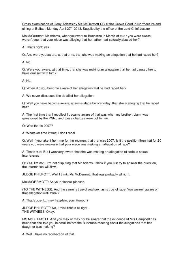 Transcript of Gerry Adams in Liam Adams trial