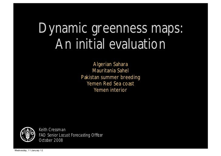 Greenness maps - Initial evaluation