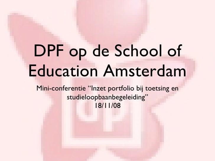 DPF op de School of Education Amsterdam