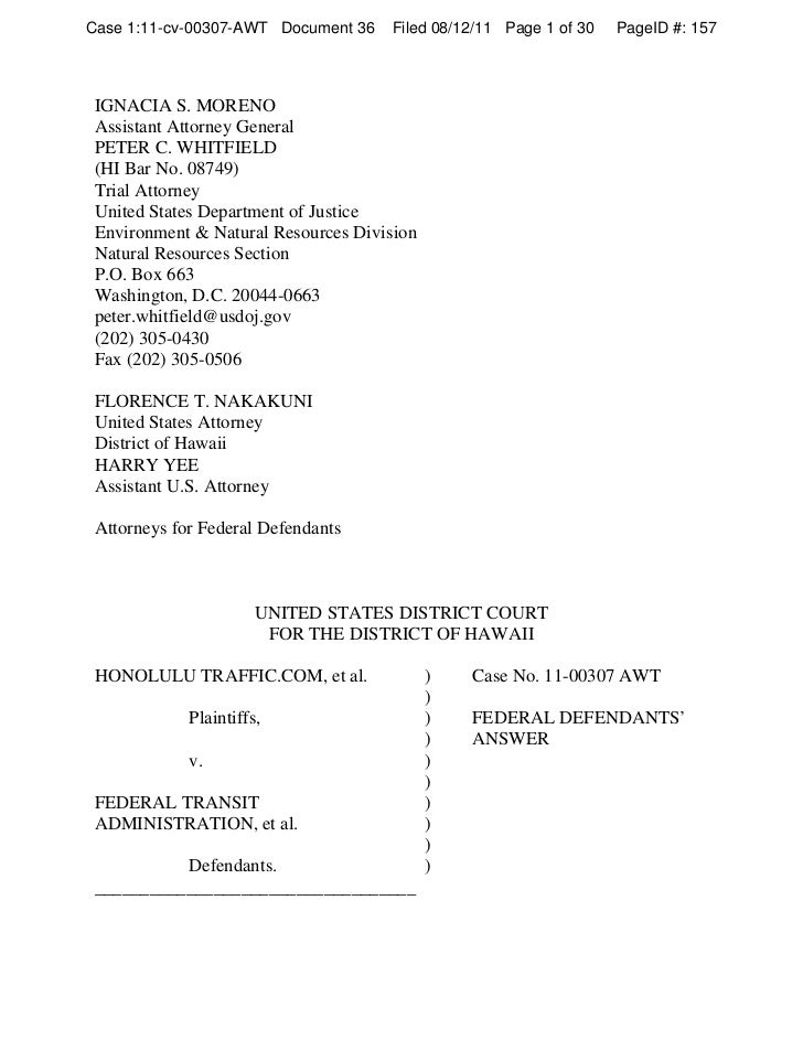 August 2011 Federal Response to Lawsuit