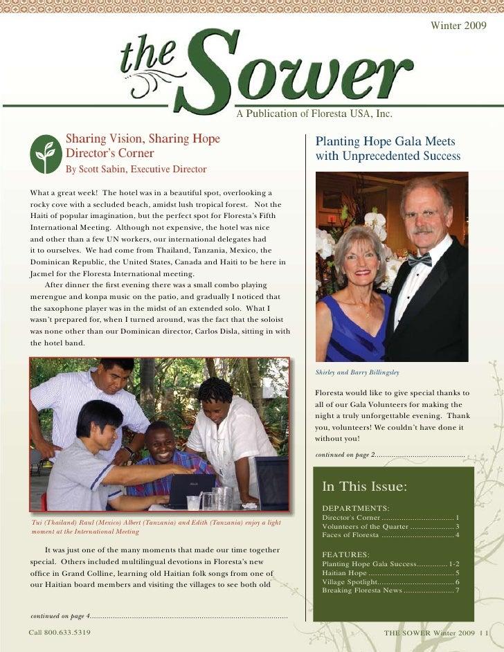 Winter 2009 The Sower Newsletter, Floresta