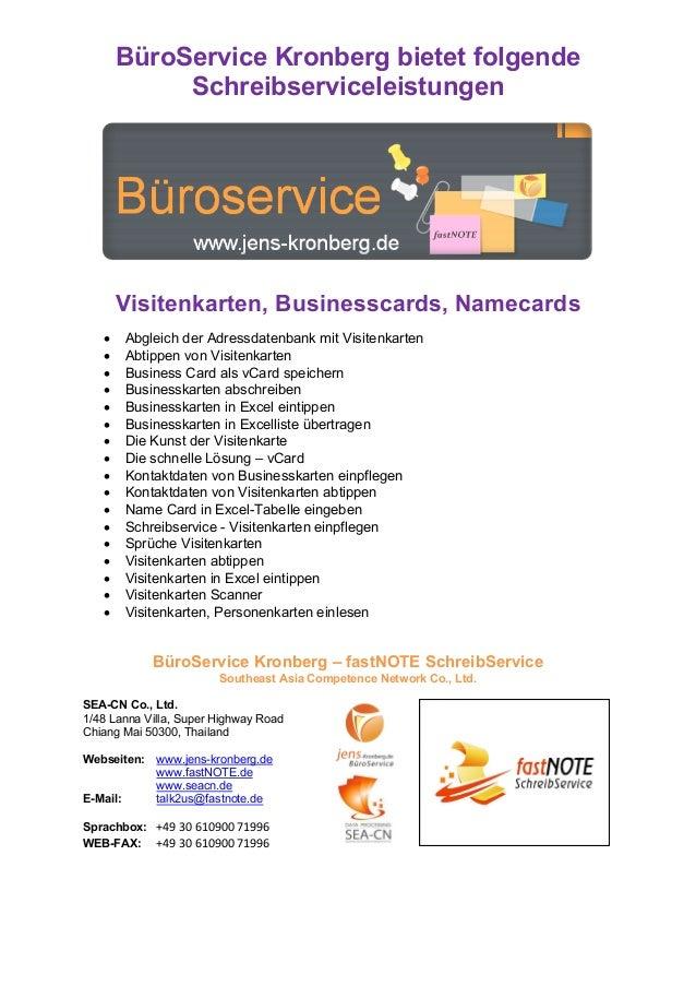 BüroService Kronberg bietet folgende Schreibserviceleistungen Visitenkarten, Businesscards, Namecards • Abgleich der Adres...
