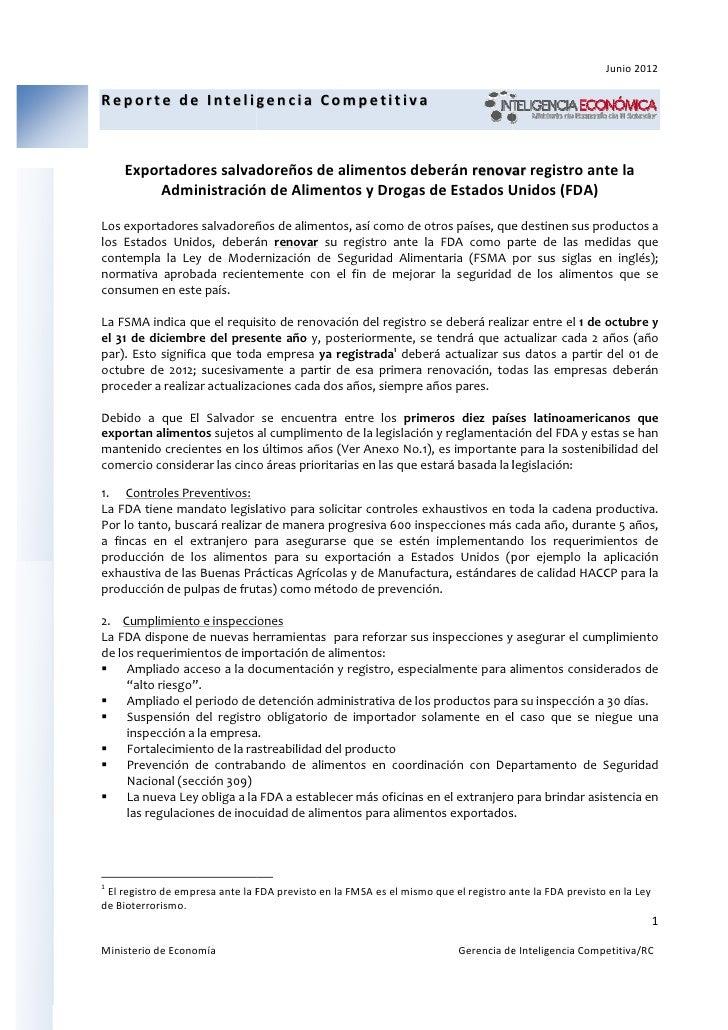 Junio 2012Reporte de Inteligencia Competitiva    Exportadores salvadoreños de alimentos deberán renovar registro ante la  ...